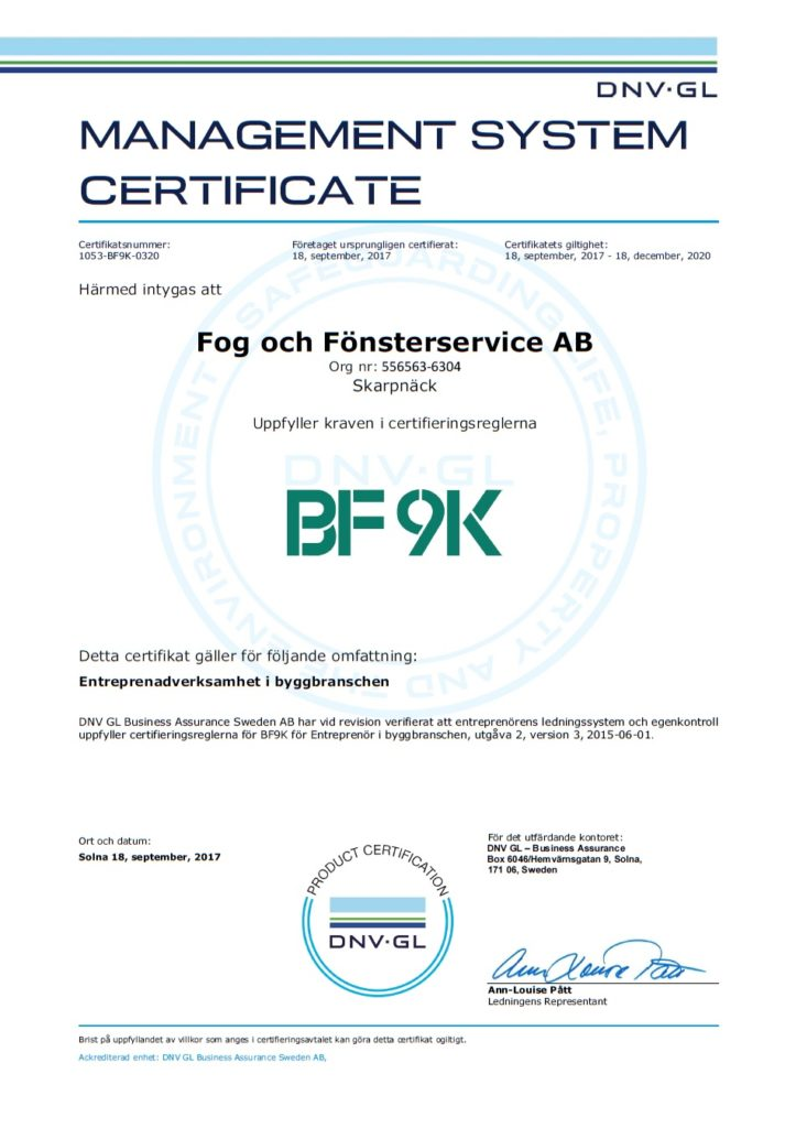 BF9K-certifikat FoF